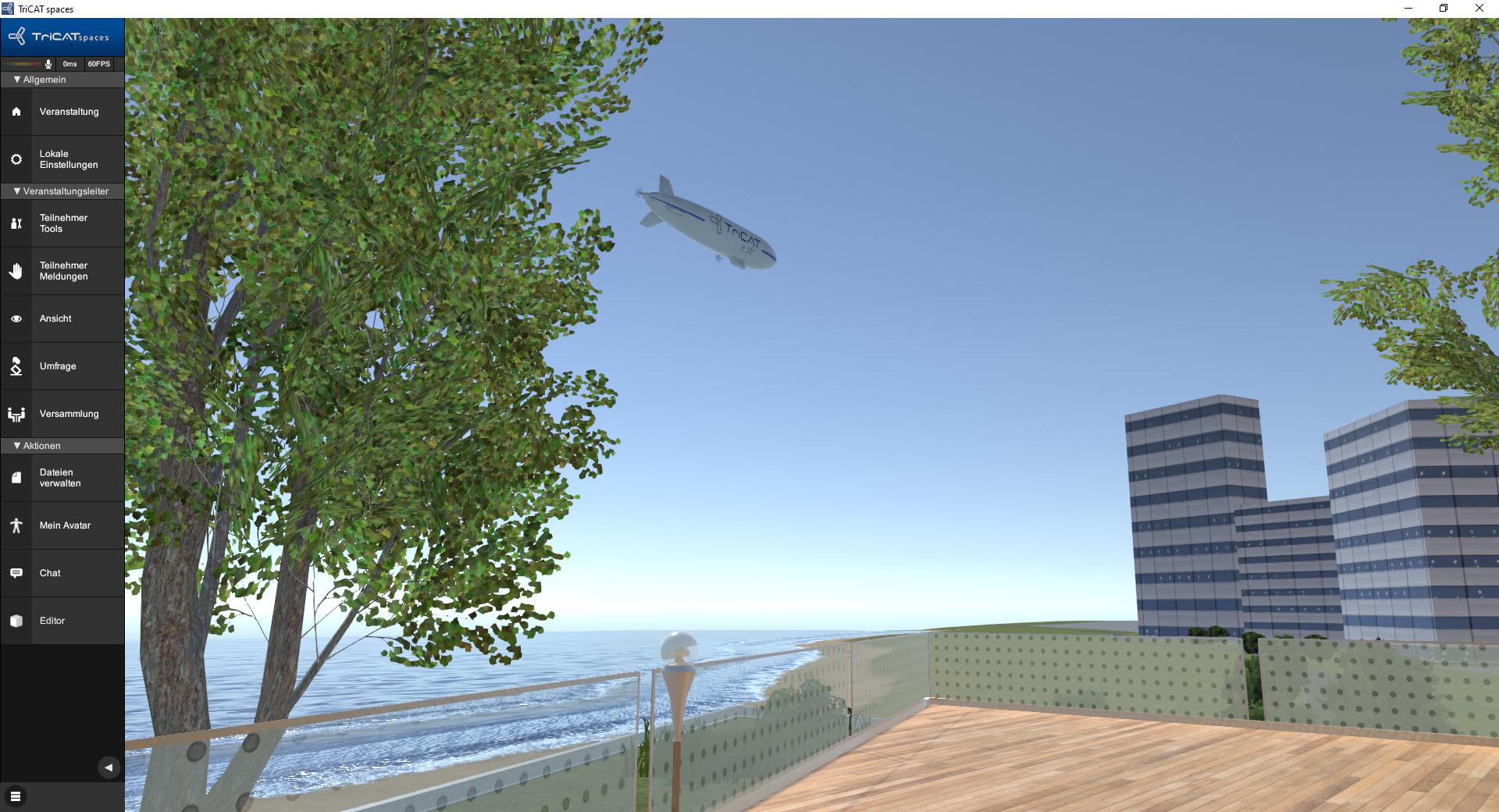 Online-Seminare in der virtuellen 3D Lernumgebung der TriCAT Zeppelin