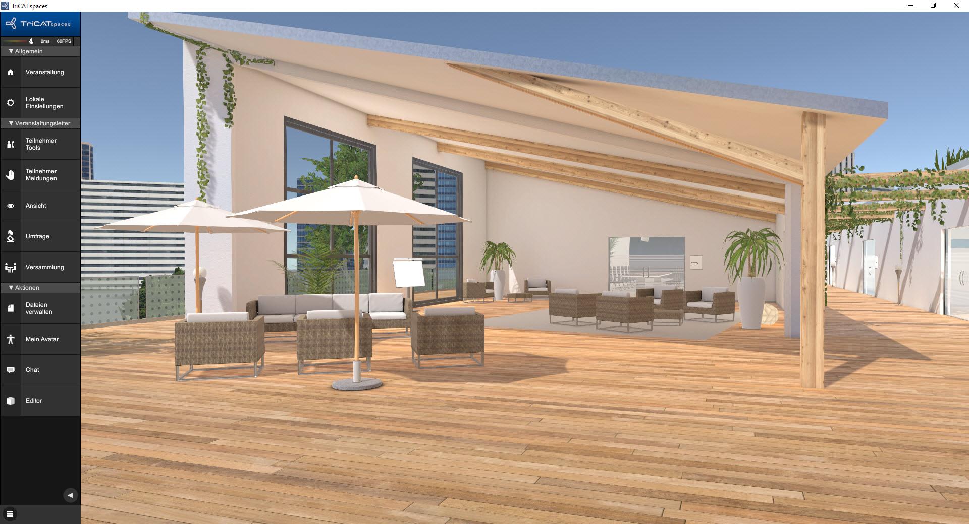 Online-Seminare in der virtuellen 3D Lernumgebung Lounge Möbel