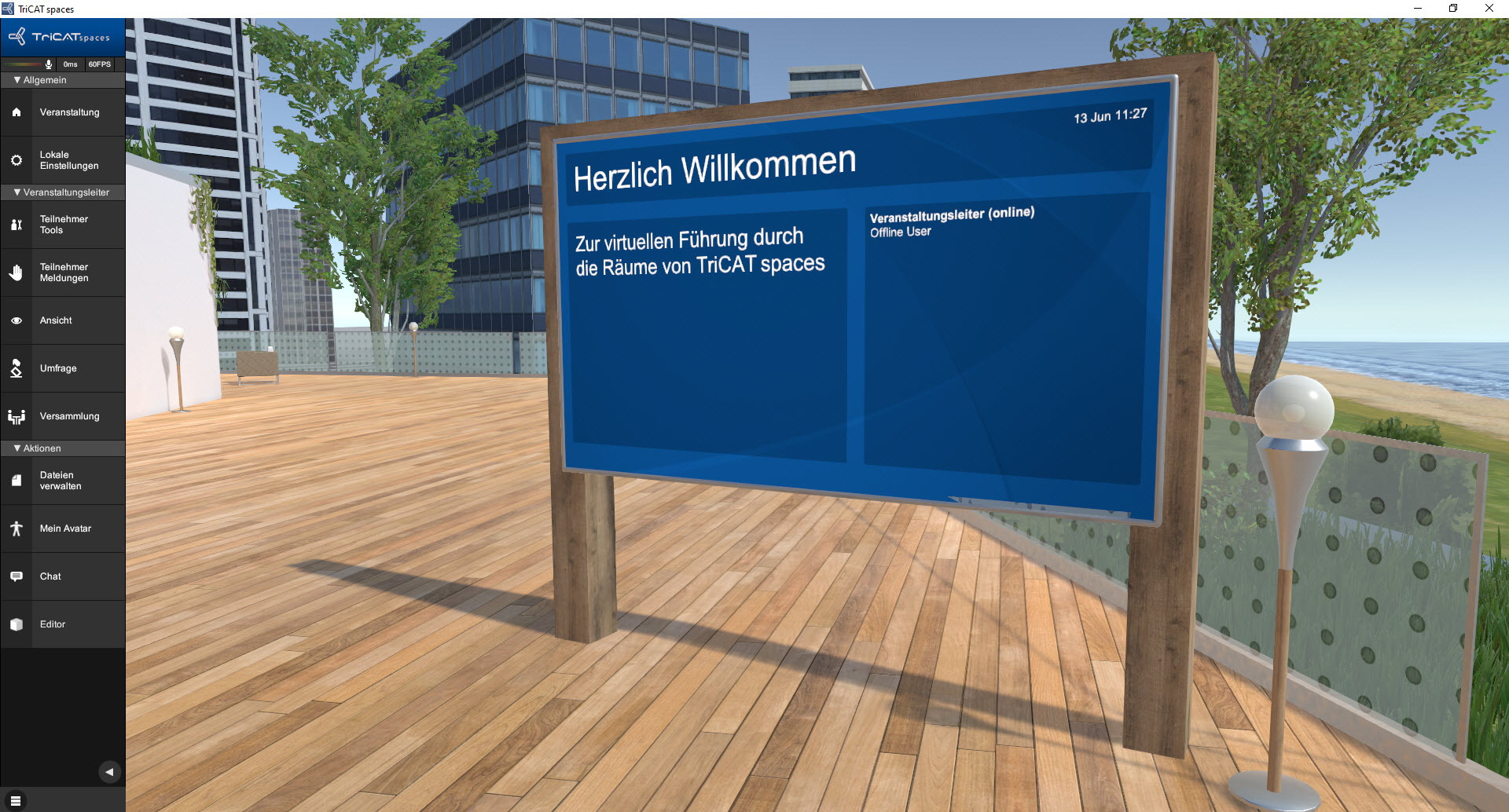 Online-Seminare in der virtuellen 3D Lernumgebung das Welcome Board