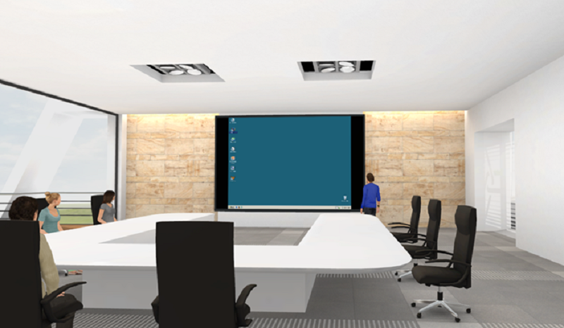 Online-Seminare in der virtuellen 3D Lernumgebung eine Mediawall