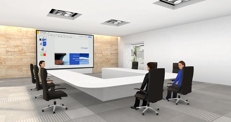 Online-Seminare in der virtuellen 3D Lernumgebung ein großer Meetingraum