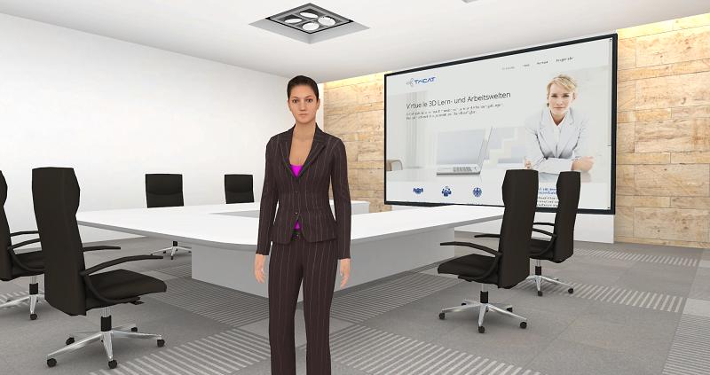 Online-Seminare in der virtuellen 3D Lernumgebung ein Meetingraum